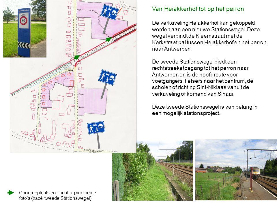 Opnameplaats en –richting van beide foto's (tracé tweede Stationswegel) Van Heiakkerhof tot op het perron De verkaveling Heiakkerhof kan gekoppeld wor