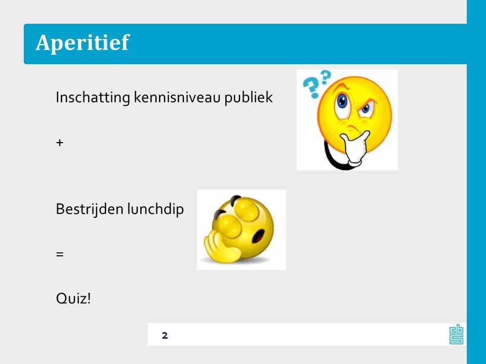 Aperitief Inschatting kennisniveau publiek + Bestrijden lunchdip = Quiz! 2