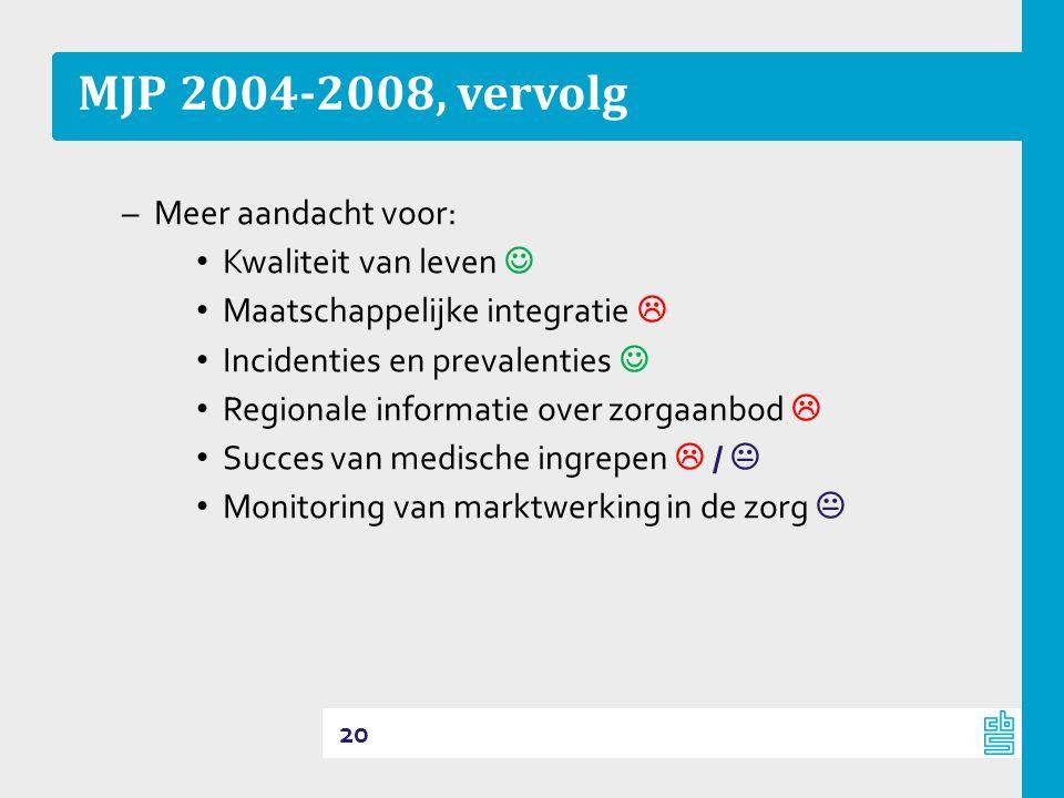 MJP 2004-2008, vervolg –Meer aandacht voor: • Kwaliteit van leven  • Maatschappelijke integratie  • Incidenties en prevalenties  • Regionale informatie over zorgaanbod  • Succes van medische ingrepen  /  • Monitoring van marktwerking in de zorg  20