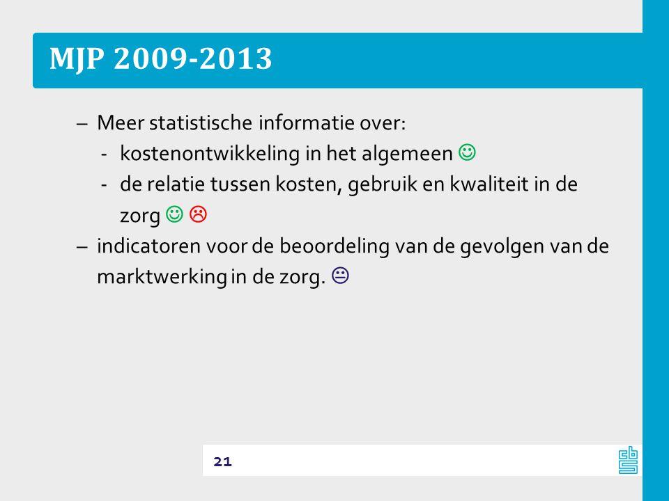 MJP 2009-2013 –Meer statistische informatie over: ‐kostenontwikkeling in het algemeen  ‐de relatie tussen kosten, gebruik en kwaliteit in de zorg   –indicatoren voor de beoordeling van de gevolgen van de marktwerking in de zorg.