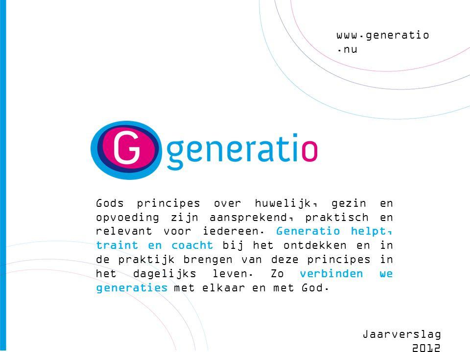 Inhoud jaarverslag  Generatio helpt en verbindt  Generatio traint  Generatio coacht  Financieel overzicht  Generatio in 2013 Stichting Generatio wordt opgericht op 17 december 2010.