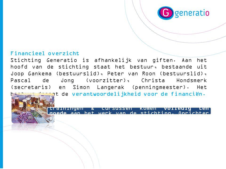 Financieel overzicht Stichting Generatio is afhankelijk van giften. Aan het hoofd van de stichting staat het bestuur, bestaande uit Joop Gankema (best