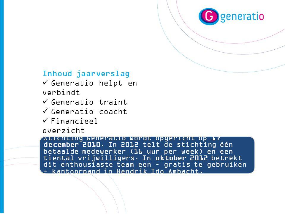 Inhoud jaarverslag  Generatio helpt en verbindt  Generatio traint  Generatio coacht  Financieel overzicht  Generatio in 2013 Stichting Generatio