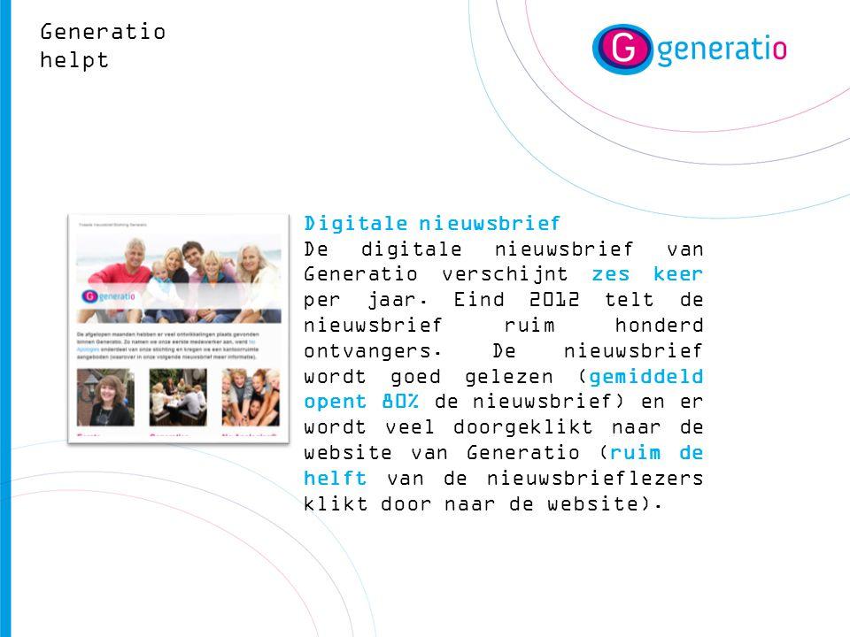 Digitale nieuwsbrief De digitale nieuwsbrief van Generatio verschijnt zes keer per jaar. Eind 2012 telt de nieuwsbrief ruim honderd ontvangers. De nie