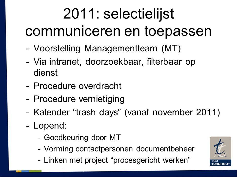 2011: selectielijst communiceren en toepassen -Voorstelling Managementteam (MT) -Via intranet, doorzoekbaar, filterbaar op dienst -Procedure overdrach