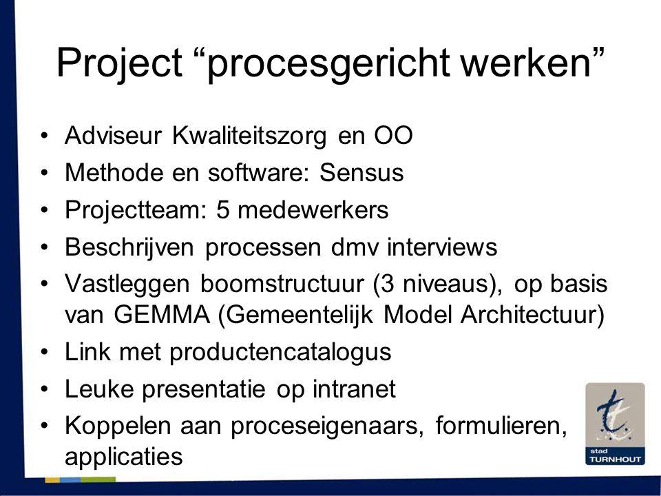 """Project """"procesgericht werken"""" •Adviseur Kwaliteitszorg en OO •Methode en software: Sensus •Projectteam: 5 medewerkers •Beschrijven processen dmv inte"""