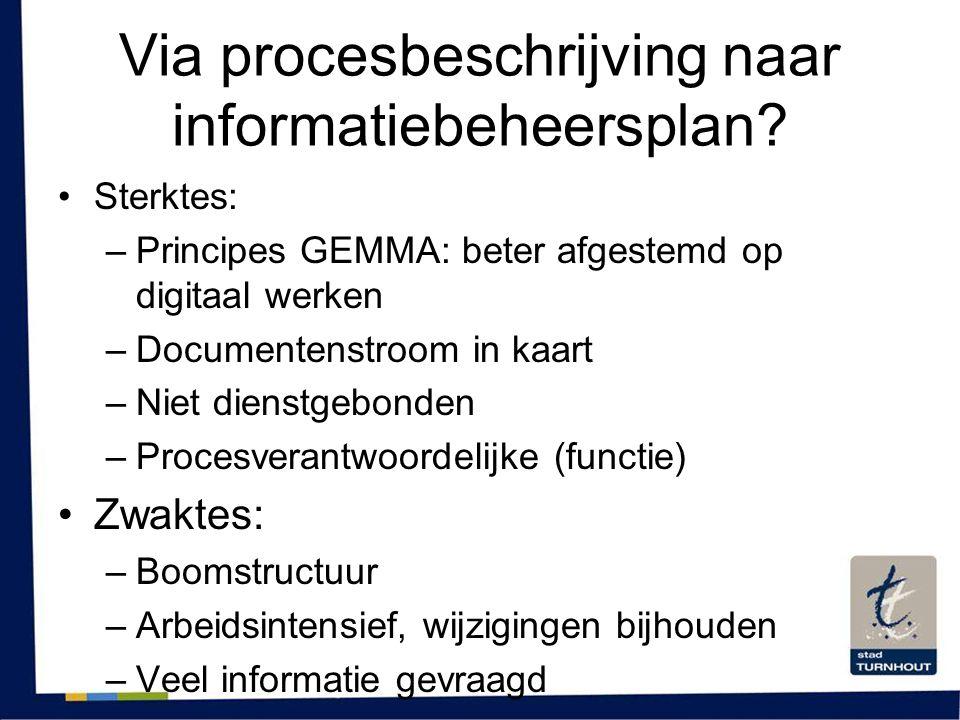 Via procesbeschrijving naar informatiebeheersplan? •Sterktes: –Principes GEMMA: beter afgestemd op digitaal werken –Documentenstroom in kaart –Niet di