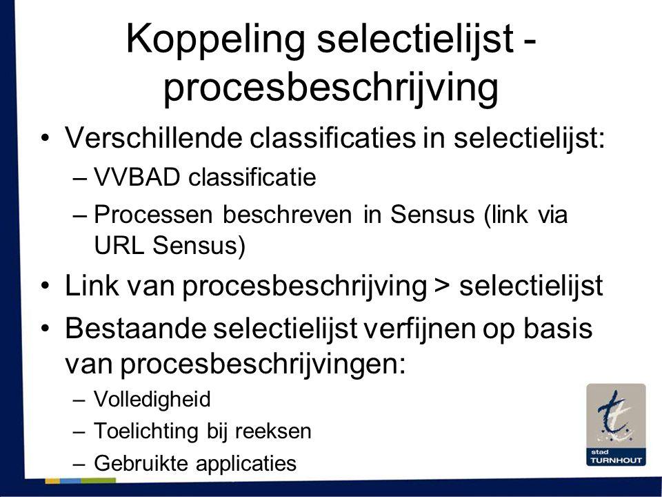Koppeling selectielijst - procesbeschrijving •Verschillende classificaties in selectielijst: –VVBAD classificatie –Processen beschreven in Sensus (lin