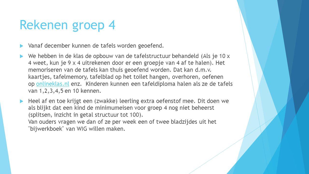 Rekenen groep 4  Vanaf december kunnen de tafels worden geoefend.