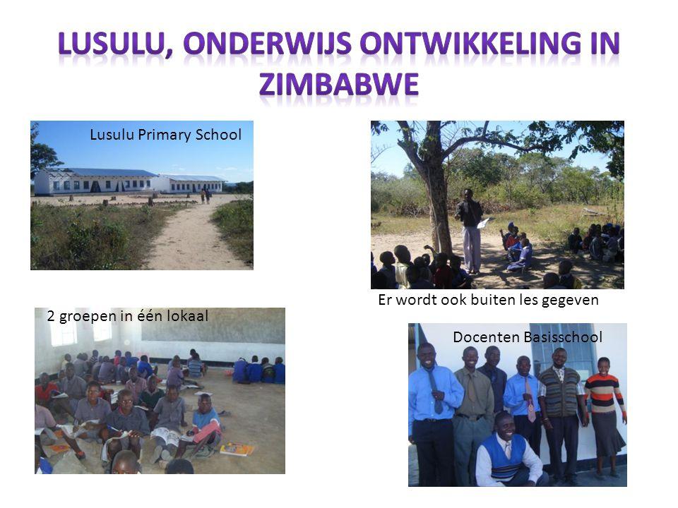 Lusulu Primary School 2 groepen in één lokaal Er wordt ook buiten les gegeven Docenten Basisschool