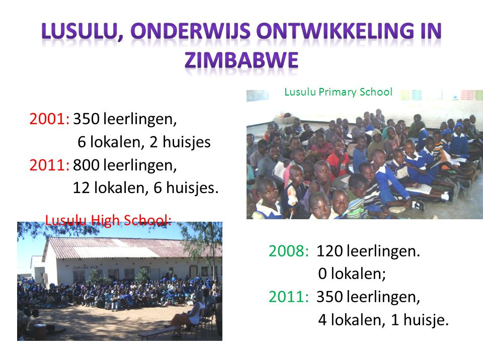 2001: 350 leerlingen, 6 lokalen, 2 huisjes 2011: 800 leerlingen, 12 lokalen, 6 huisjes.