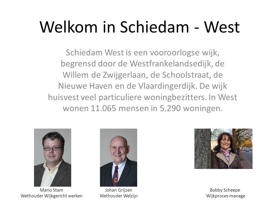 Welkom in Schiedam - West Schiedam West is een vooroorlogse wijk, begrensd door de Westfrankelandsedijk, de Willem de Zwijgerlaan, de Schoolstraat, de Nieuwe Haven en de Vlaardingerdijk.
