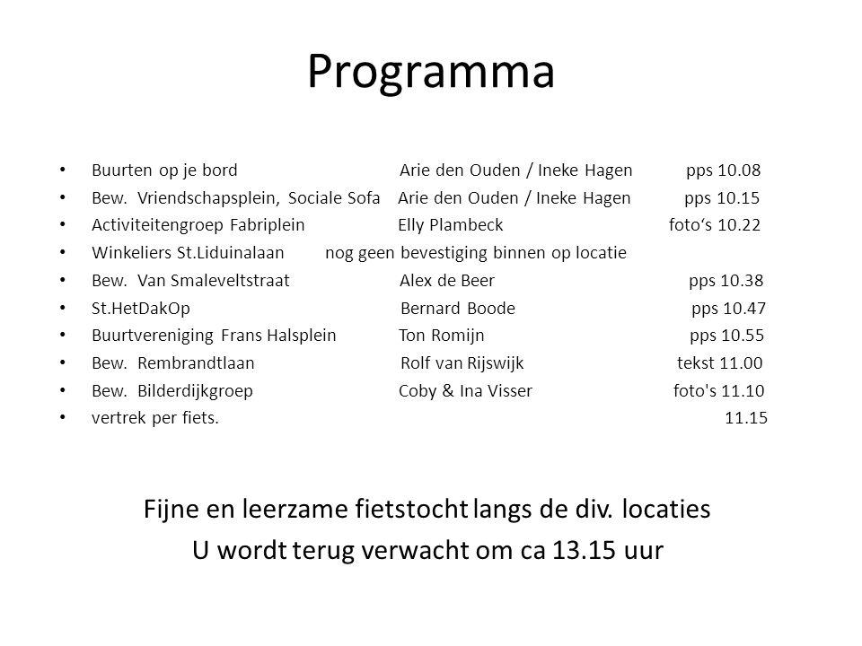 Programma • Buurten op je bord Arie den Ouden / Ineke Hagen pps 10.08 • Bew.