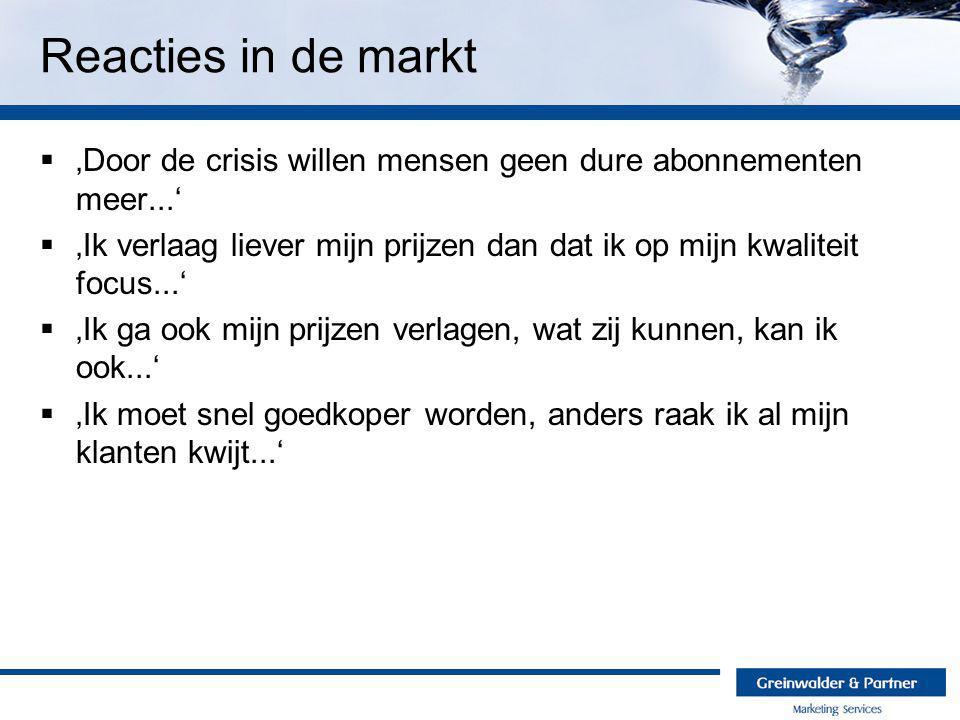 Reacties in de markt  'Door de crisis willen mensen geen dure abonnementen meer...'  'Ik verlaag liever mijn prijzen dan dat ik op mijn kwaliteit fo