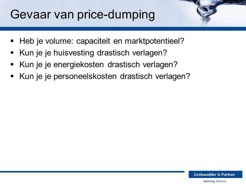 Gevaar van price-dumping  Heb je volume: capaciteit en marktpotentieel.