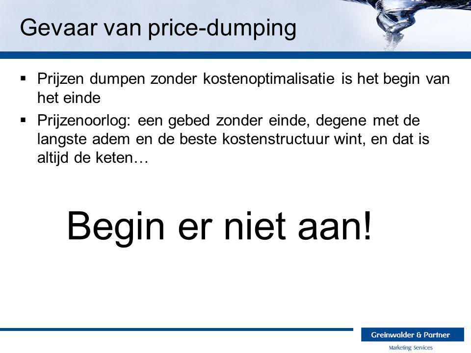 Gevaar van price-dumping  Prijzen dumpen zonder kostenoptimalisatie is het begin van het einde  Prijzenoorlog: een gebed zonder einde, degene met de