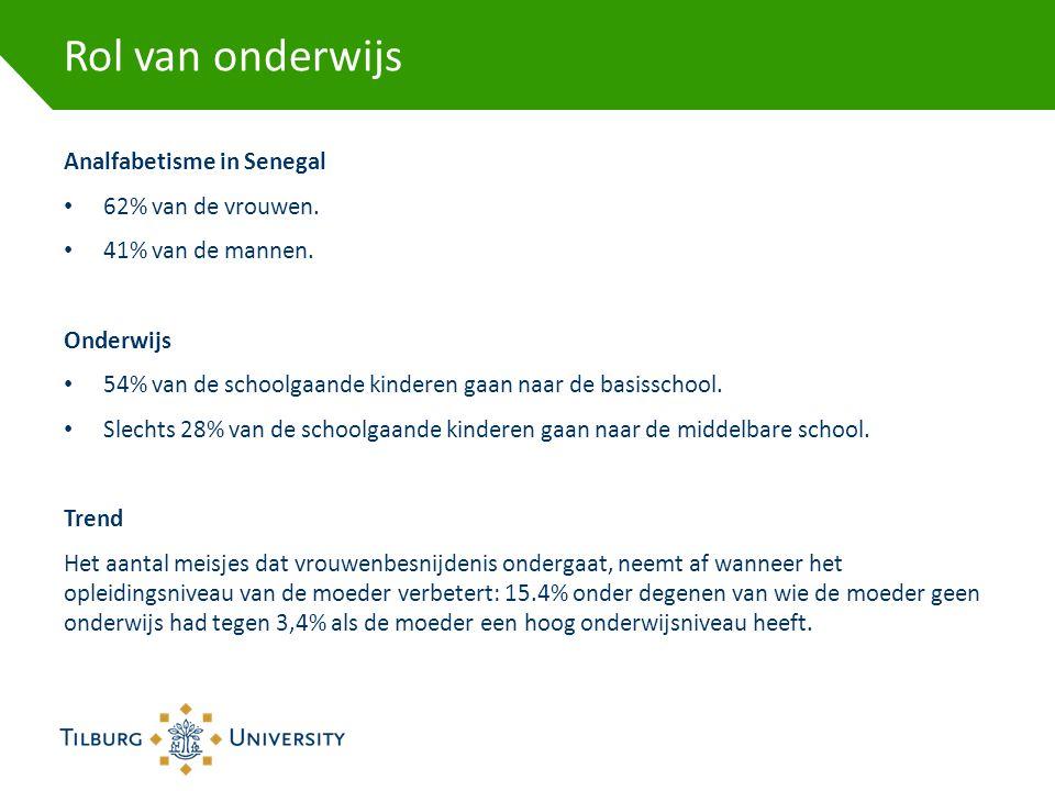 Rol van onderwijs Analfabetisme in Senegal • 62% van de vrouwen. • 41% van de mannen. Onderwijs • 54% van de schoolgaande kinderen gaan naar de basiss