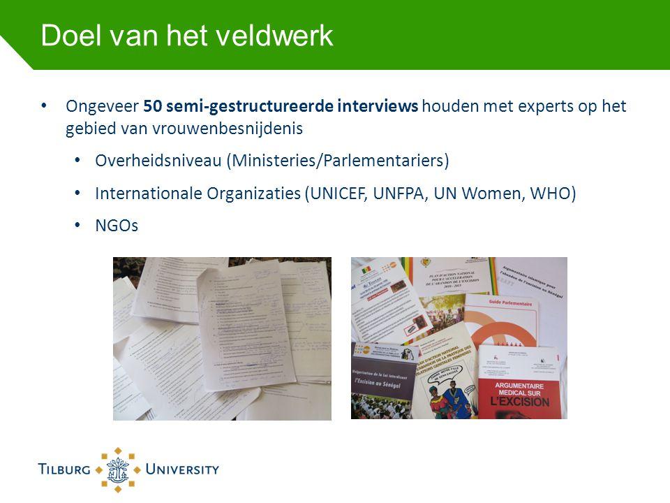 Doel van het veldwerk • Ongeveer 50 semi-gestructureerde interviews houden met experts op het gebied van vrouwenbesnijdenis • Overheidsniveau (Ministe