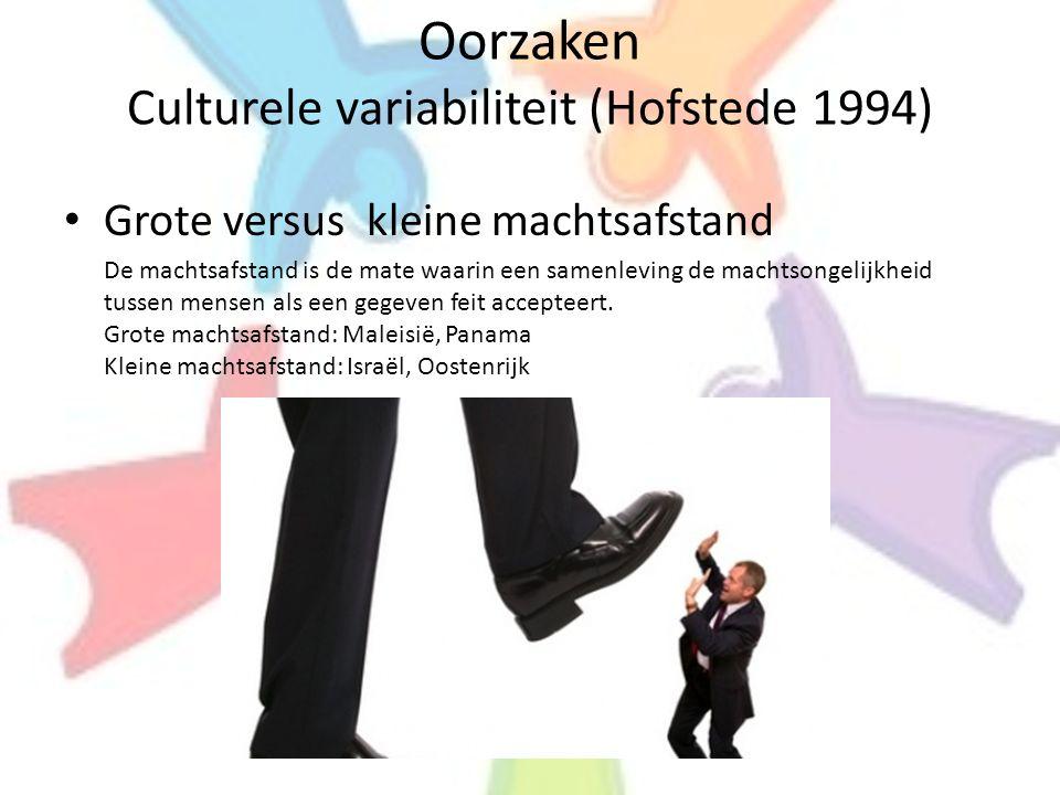 Oorzaken Culturele variabiliteit (Hofstede 1994) • Grote versus kleine machtsafstand De machtsafstand is de mate waarin een samenleving de machtsongel