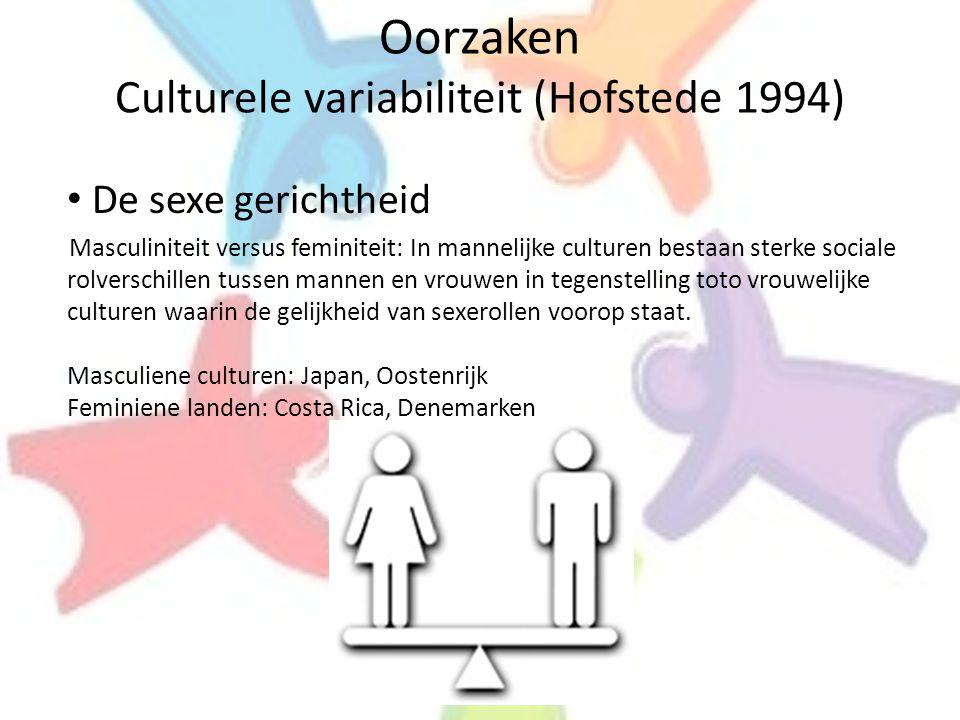 Oorzaken Culturele variabiliteit (Hofstede 1994) • De sexe gerichtheid Masculiniteit versus feminiteit: In mannelijke culturen bestaan sterke sociale