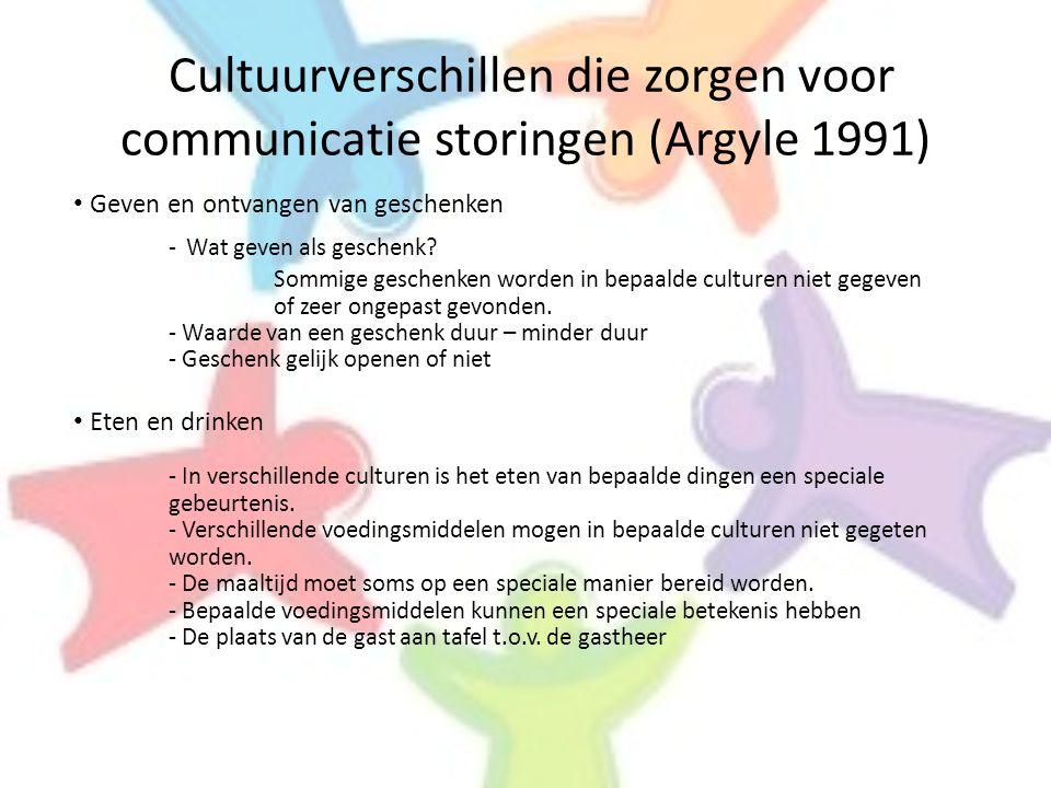Cultuurverschillen die zorgen voor communicatie storingen (Argyle 1991) • Geven en ontvangen van geschenken - Wat geven als geschenk? Sommige geschenk