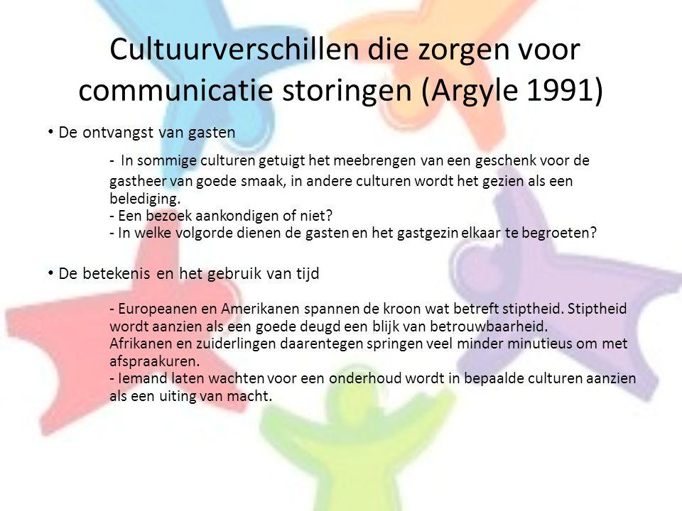 Cultuurverschillen die zorgen voor communicatie storingen (Argyle 1991) • De ontvangst van gasten - In sommige culturen getuigt het meebrengen van een