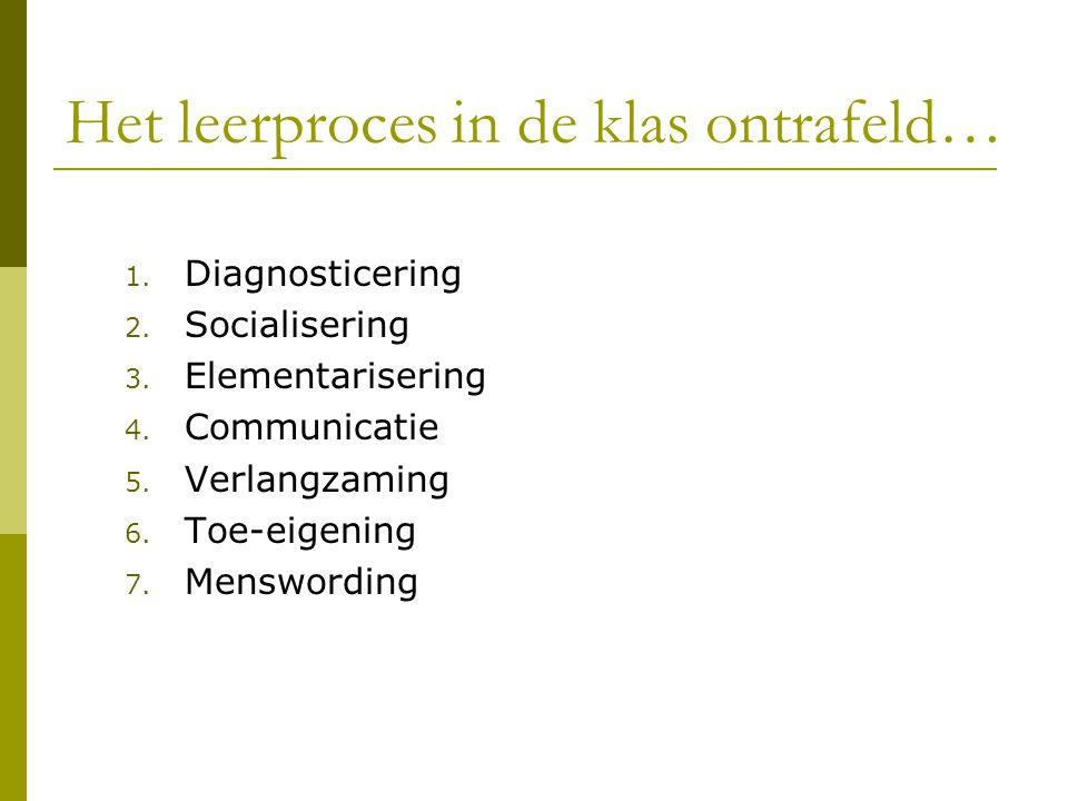 Het leerproces in de klas ontrafeld… 1. Diagnosticering 2. Socialisering 3. Elementarisering 4. Communicatie 5. Verlangzaming 6. Toe-eigening 7. Mensw