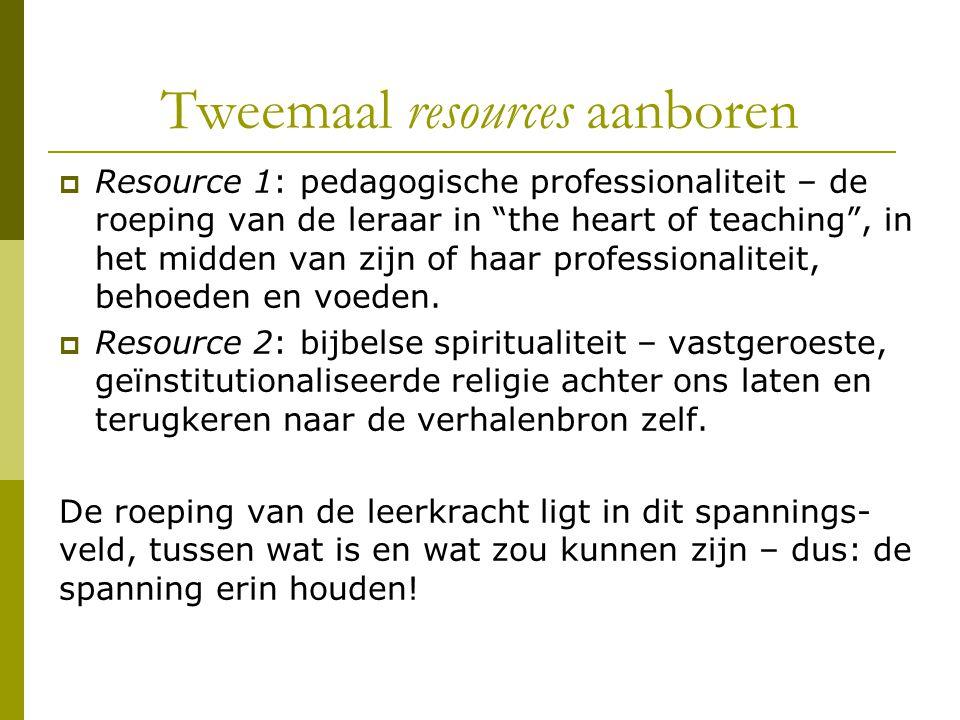 """Tweemaal resources aanboren  Resource 1: pedagogische professionaliteit – de roeping van de leraar in """"the heart of teaching"""", in het midden van zijn"""