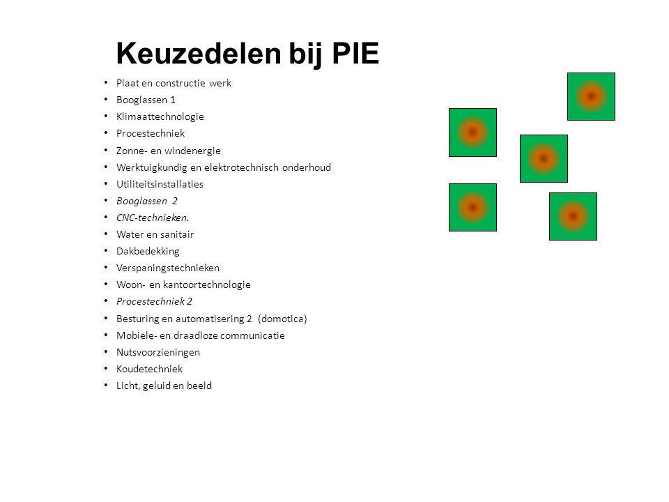 Keuzedelen bij PIE • Plaat en constructie werk • Booglassen 1 • Klimaattechnologie • Procestechniek • Zonne- en windenergie • Werktuigkundig en elektr