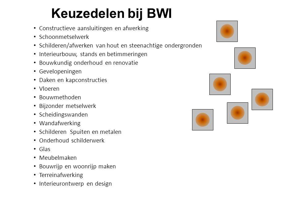 Keuzedelen bij BWI • Constructieve aansluitingen en afwerking • Schoonmetselwerk • Schilderen/afwerken van hout en steenachtige ondergronden • Interie
