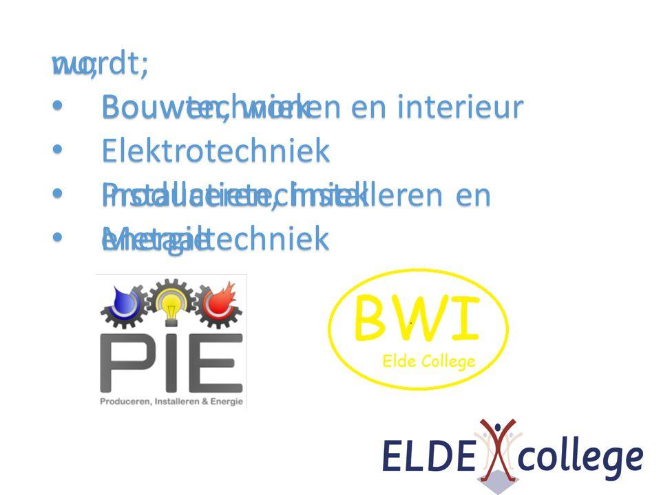 nu; • Bouwtechniek • Elektrotechniek • Installatietechniek • Metaaltechniek wordt; • Bouwen, wonen en interieur • Produceren, installeren en energie