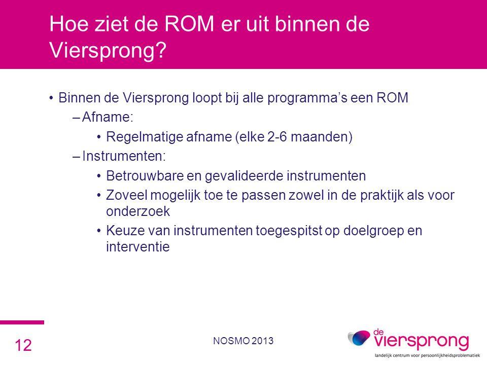 Hoe ziet de ROM er uit binnen de Viersprong? •Binnen de Viersprong loopt bij alle programma's een ROM –Afname: •Regelmatige afname (elke 2-6 maanden)