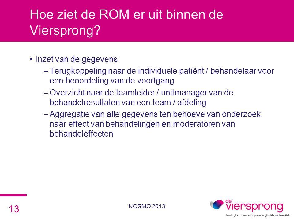 Hoe ziet de ROM er uit binnen de Viersprong? •Inzet van de gegevens: –Terugkoppeling naar de individuele patiënt / behandelaar voor een beoordeling va