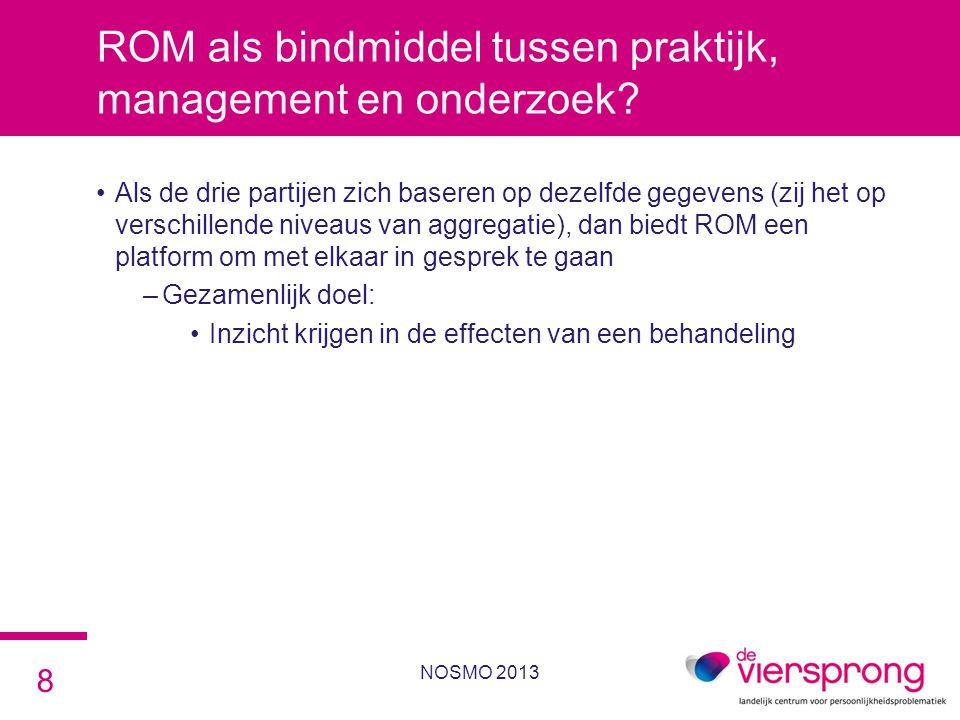 ROM als bindmiddel tussen praktijk, management en onderzoek? •Als de drie partijen zich baseren op dezelfde gegevens (zij het op verschillende niveaus