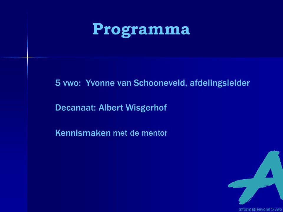 Programma 5 vwo: Yvonne van Schooneveld, afdelingsleider Decanaat: Albert Wisgerhof Kennismaken met de mentor Informatieavond 5 vwo