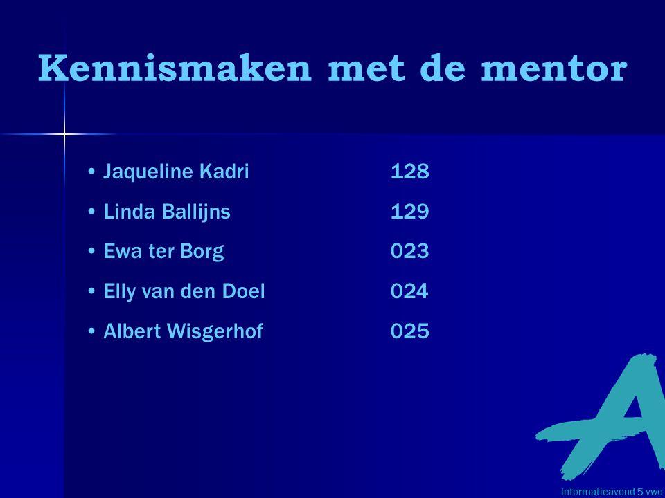 Kennismaken met de mentor •Jaqueline Kadri128 •Linda Ballijns129 •Ewa ter Borg023 •Elly van den Doel024 •Albert Wisgerhof025 Informatieavond 5 vwo