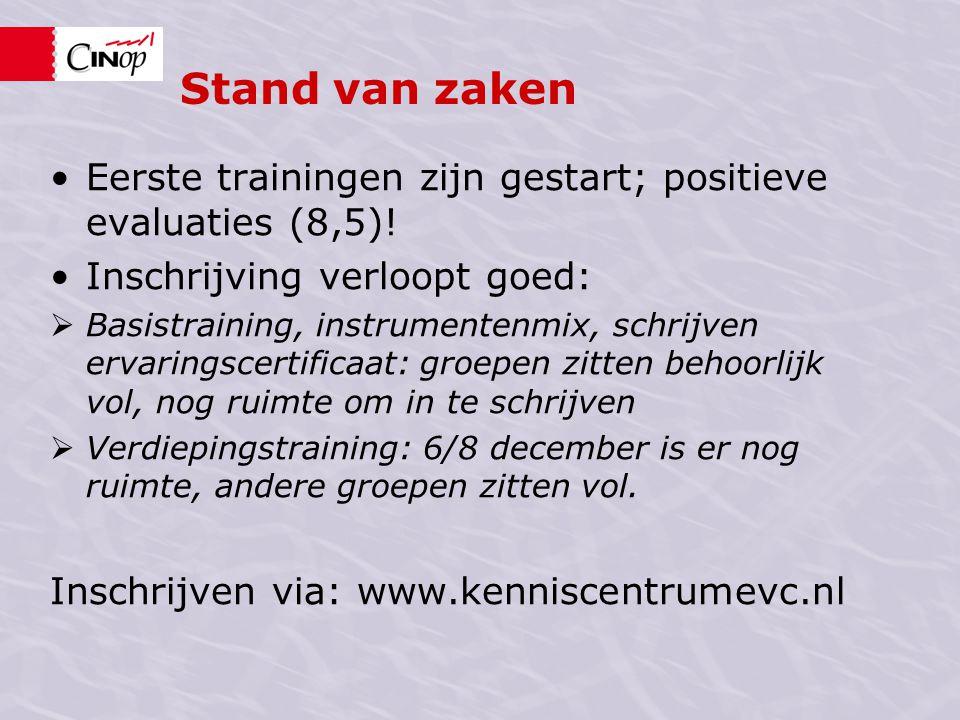 Stand van zaken •Eerste trainingen zijn gestart; positieve evaluaties (8,5)! •Inschrijving verloopt goed:  Basistraining, instrumentenmix, schrijven