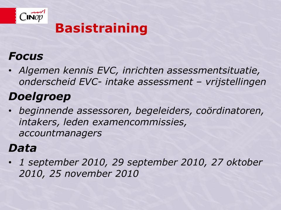Basistraining Focus • Algemen kennis EVC, inrichten assessmentsituatie, onderscheid EVC- intake assessment – vrijstellingen Doelgroep • beginnende ass