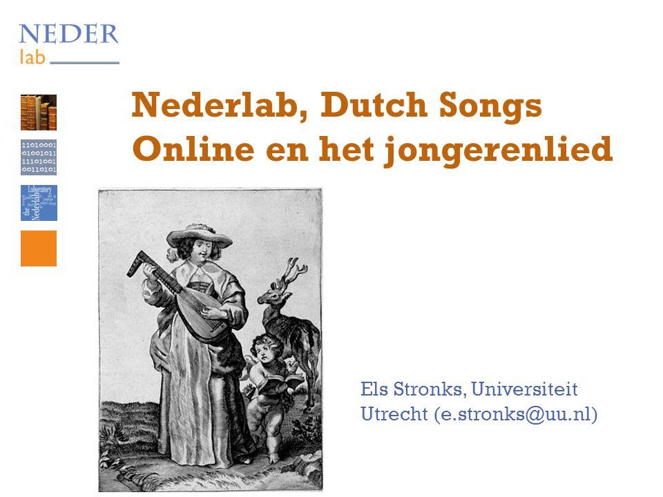 Corpus Dutch Songs On Line  122.954 niet-instrumentale (dat wil zeggen: talige liedjes) in de Liederenbank  daarvan komen er 43.267 uit de periode 1589- 1800: 1589-1600: 2.699 1601-1650: 16.111 1651-1700: 11.700 1701-1750: 7.196 1751-1800: 5.561 (met dank aan Martine de Bruin)