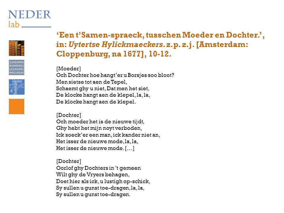 'Een t'Samen-spraeck, tusschen Moeder en Dochter.', in: Uytertse Hylickmaeckers.
