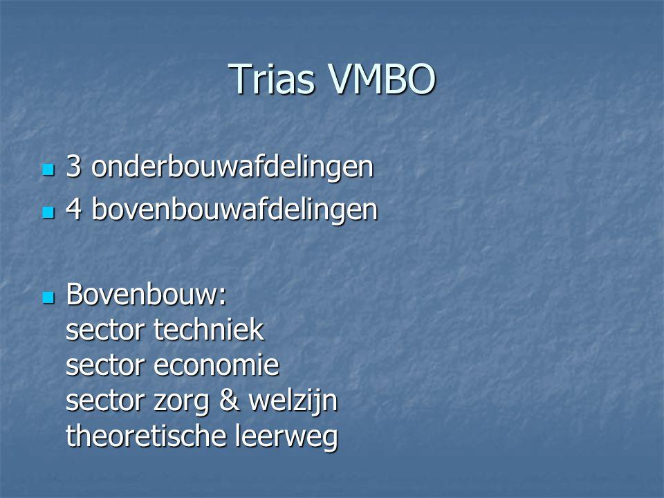 Trias VMBO  3 onderbouwafdelingen  4 bovenbouwafdelingen  Bovenbouw: sector techniek sector economie sector zorg & welzijn theoretische leerweg