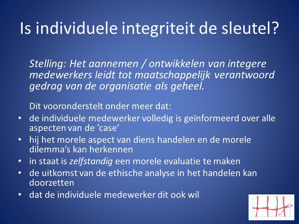 Is individuele integriteit de sleutel? Stelling: Het aannemen / ontwikkelen van integere medewerkers leidt tot maatschappelijk verantwoord gedrag van