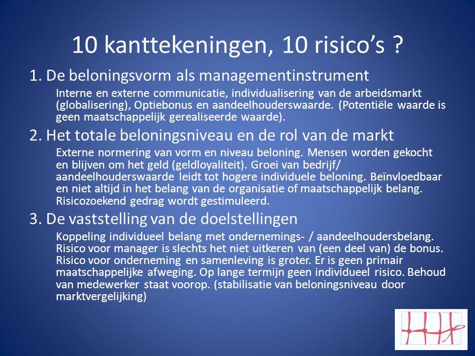 10 kanttekeningen, 10 risico's ? 1. De beloningsvorm als managementinstrument Interne en externe communicatie, individualisering van de arbeidsmarkt (
