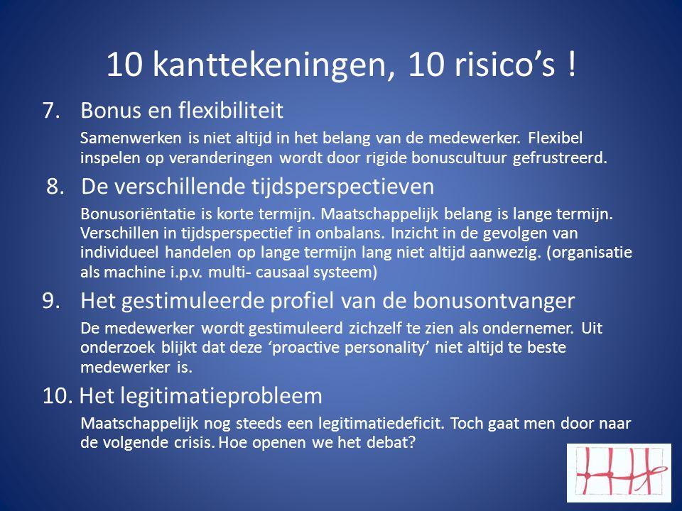 10 kanttekeningen, 10 risico's ! 7.Bonus en flexibiliteit Samenwerken is niet altijd in het belang van de medewerker. Flexibel inspelen op verandering