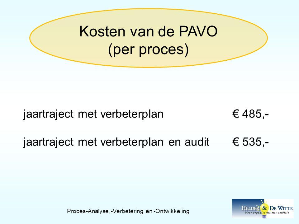 Kosten van de PAVO (per proces) jaartraject met verbeterplan€ 485,- jaartraject met verbeterplan en audit€ 535,-