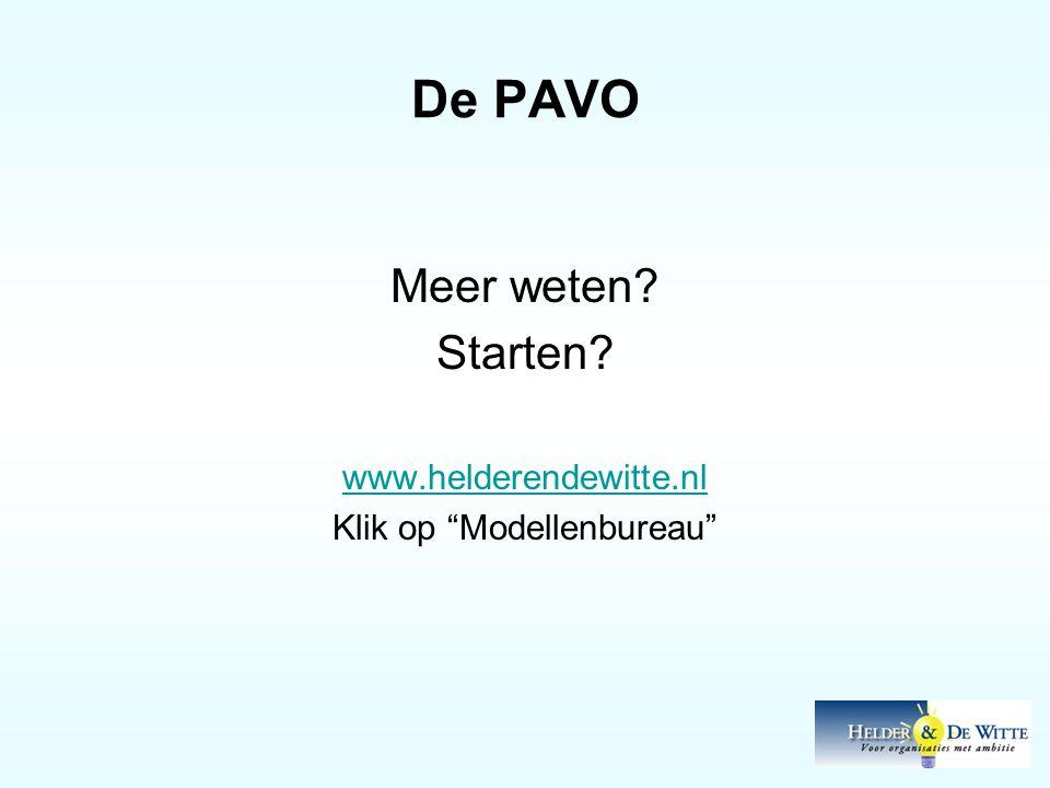 De PAVO Meer weten? Starten? www.helderendewitte.nl Klik op Modellenbureau