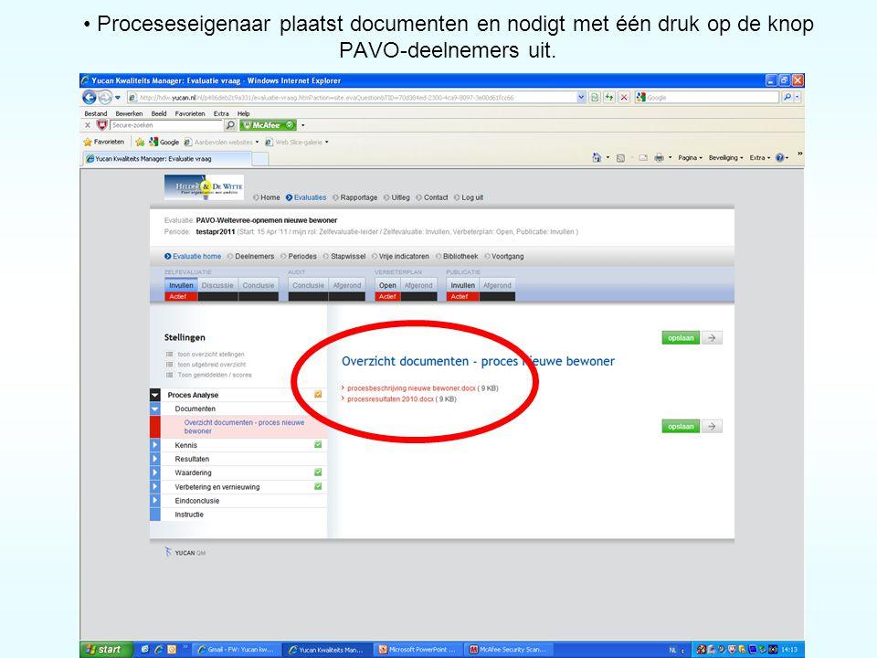 • Proceseseigenaar plaatst documenten en nodigt met één druk op de knop PAVO-deelnemers uit.