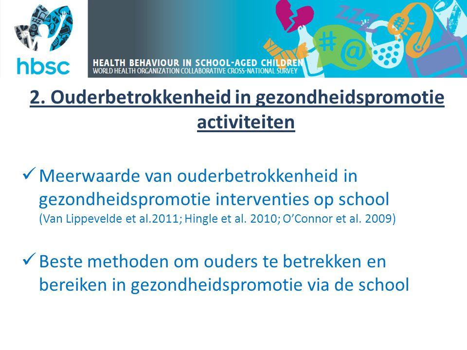 2. Ouderbetrokkenheid in gezondheidspromotie activiteiten  Meerwaarde van ouderbetrokkenheid in gezondheidspromotie interventies op school (Van Lippe