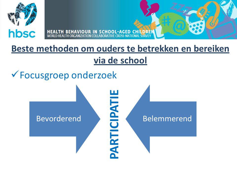Beste methoden om ouders te betrekken en bereiken via de school  Focusgroep onderzoek BevorderendBelemmerend PARTICIPATIE