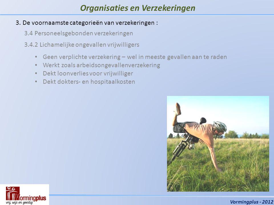 Organisaties en Verzekeringen Vormingplus - 2012 3.